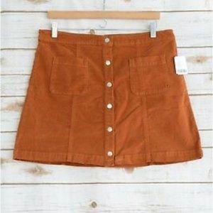 Urban Outfitters Velveteen Snap Front Skirt